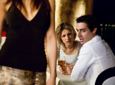 girls night out: horny guy looking at a nice girl passing by...while dining out with his girlfriend!